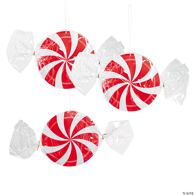 Peppermint Swirl Hanging Decorations - 3 Pc. Audio Thumbnail