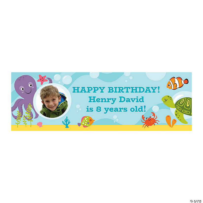 Personalized 1st Birthday Under The Sea Photo Banner