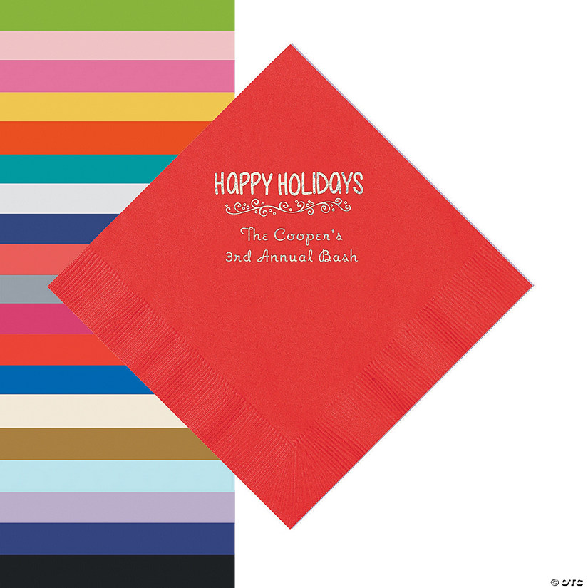 Personalized Happy Holidays Beverage or Luncheon Napkins Audio Thumbnail