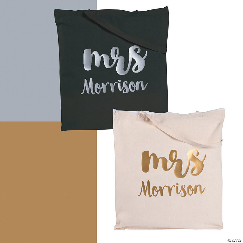 Personalized Mrs. Canvas Tote Bag with Metallic Lettering