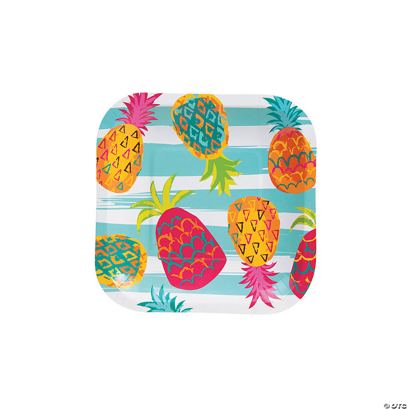 Pineapple Square Paper Dessert Plates - 8 Ct. Audio Thumbnail