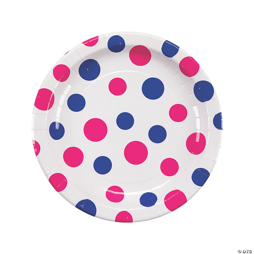Pink & Blue Polka Dot Round Paper Dinner Plates Audio Thumbnail
