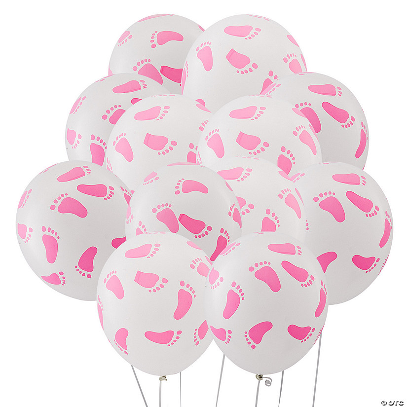 "Pink Baby Footprints 11"" Latex Balloons"