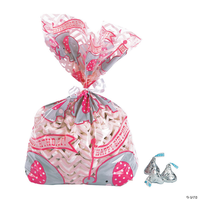 Pink Elephant Cellophane Bags