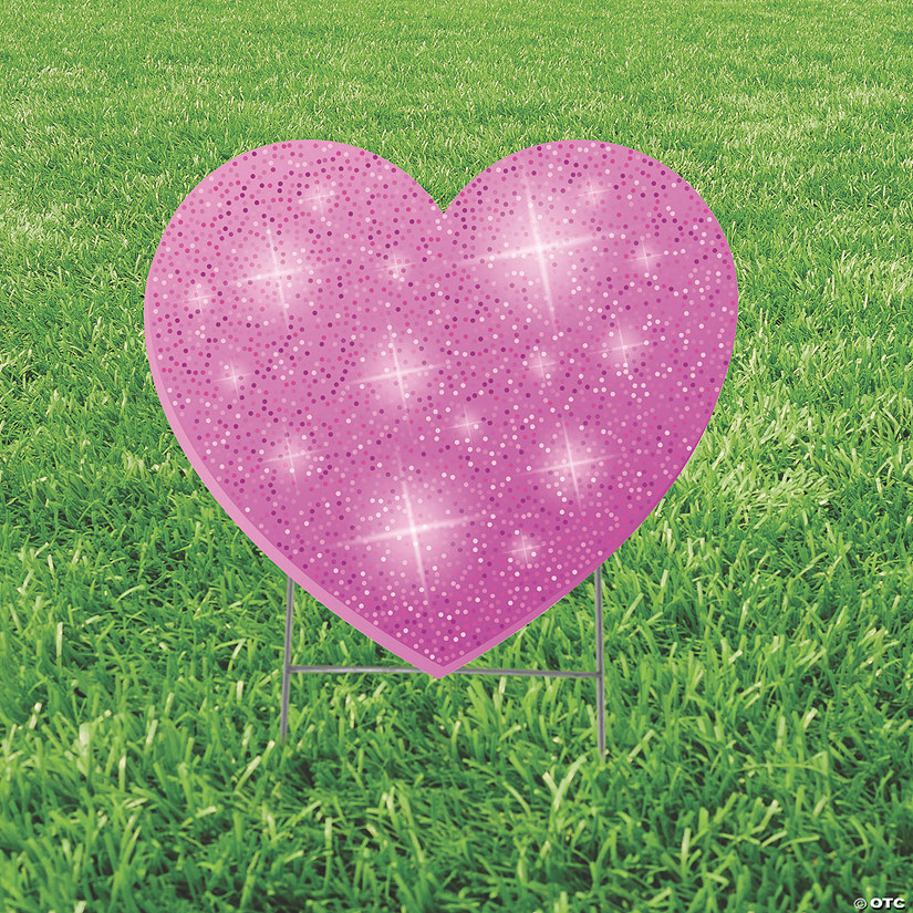 Pink Glitter Heart Yard Sign Image Thumbnail