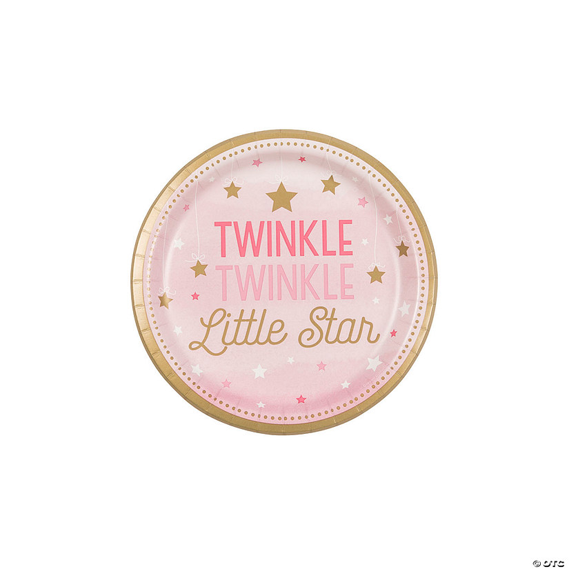 Pink One Little Star Dessert Paper Plates Audio Thumbnail