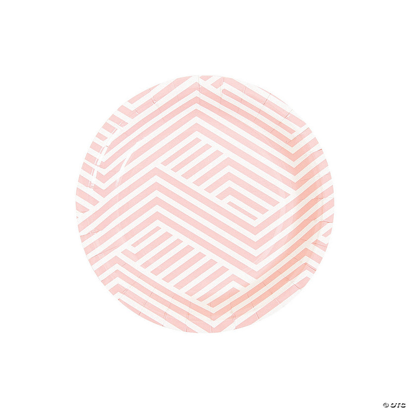 Pink Overlapping Chevrons Round Paper Dessert Plates Audio Thumbnail