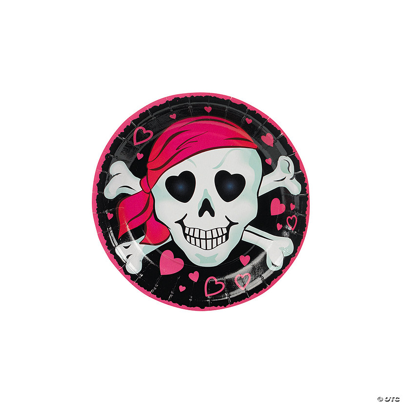 Pink Pirate Girl Paper Dessert Plates - 8 Ct. Audio Thumbnail