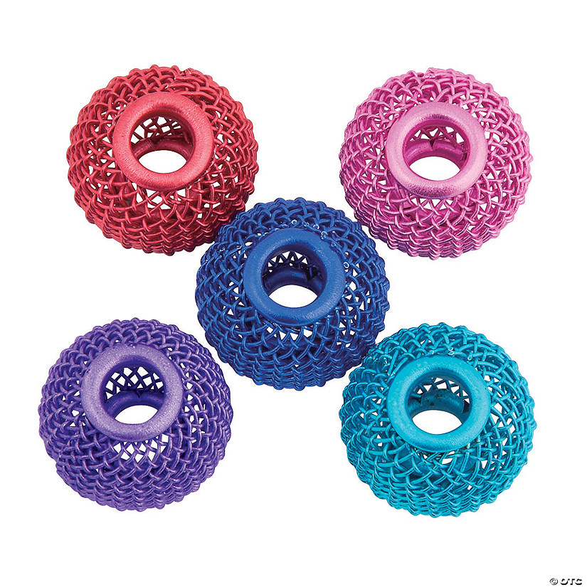 Pink, Purple, Royal Blue, Teal & Red Mesh Large Hole Beads - 16mm Audio Thumbnail