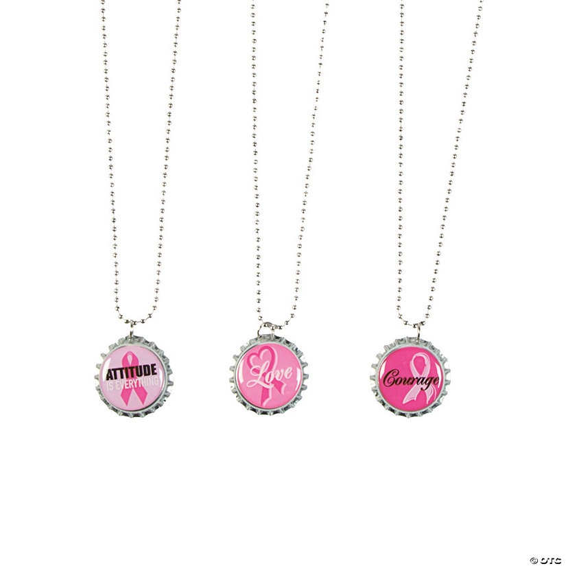 Pink Ribbon Bottle Cap Necklaces