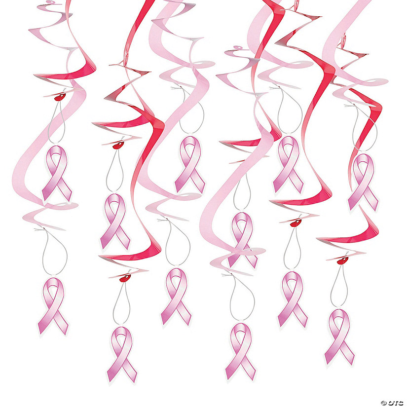 Pink Ribbon Hanging Swirl Decorations - 12 Pc. Audio Thumbnail