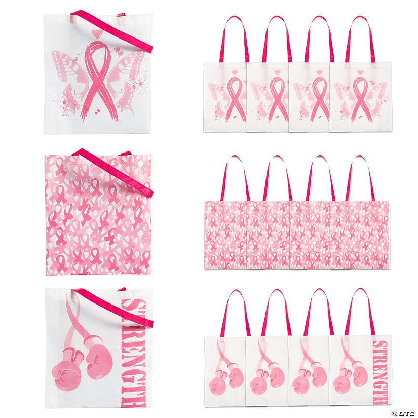 Pink Ribbon Large Tote Bags Audio Thumbnail