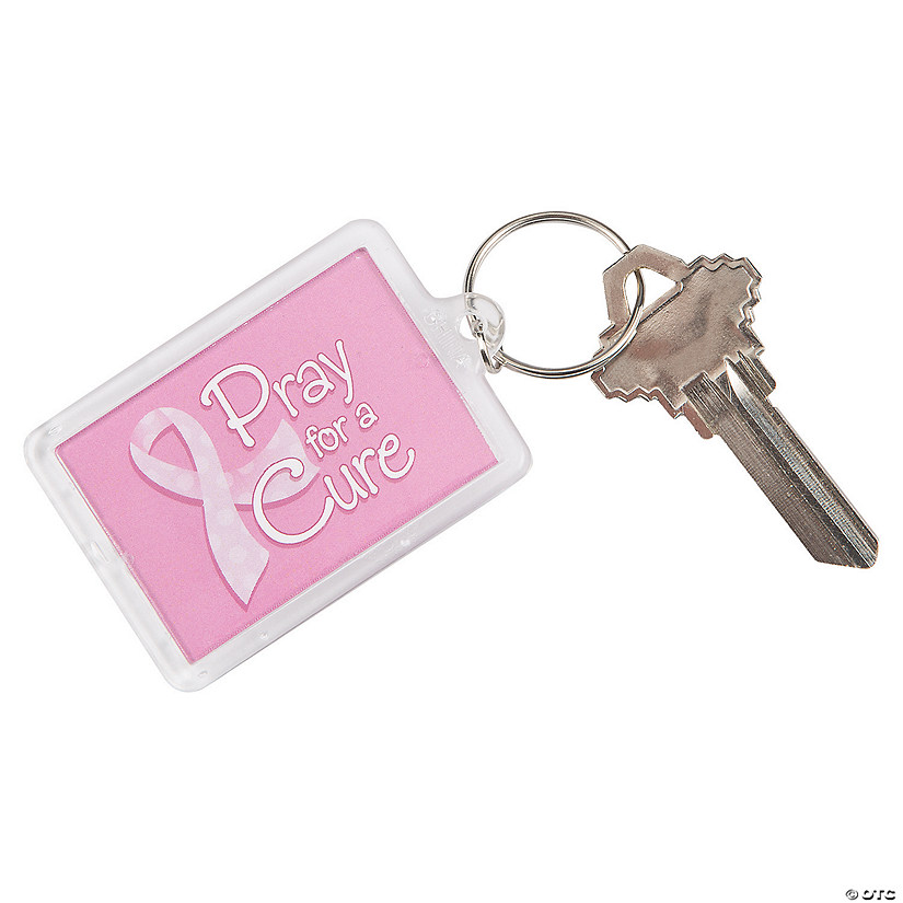 Pink Ribbon Pray For A Cure Keychains