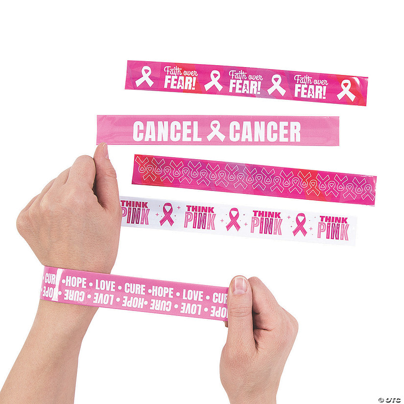 Pink Ribbon Slap Bracelet Assortment Image Thumbnail