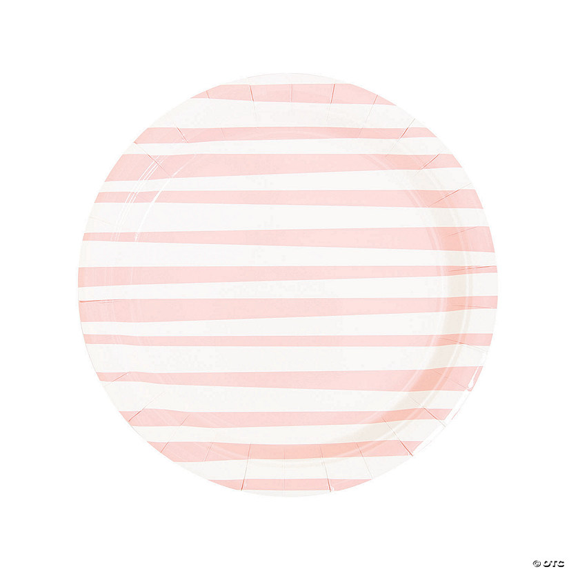 Pink Striped Round Paper Dinner Plates Audio Thumbnail