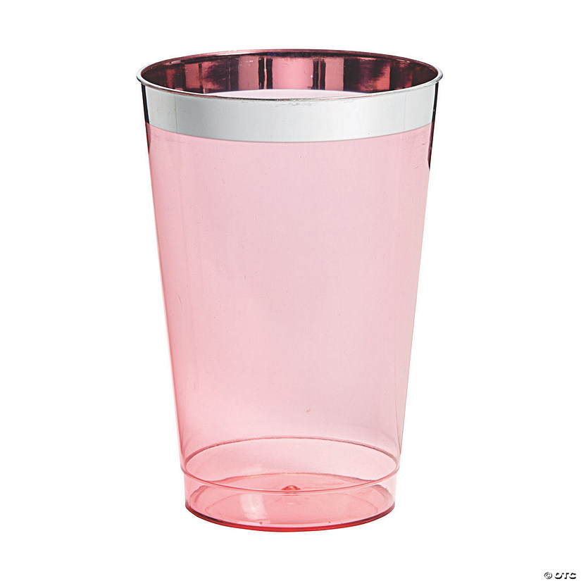Pink with Silver-Trim Plastic Tumblers