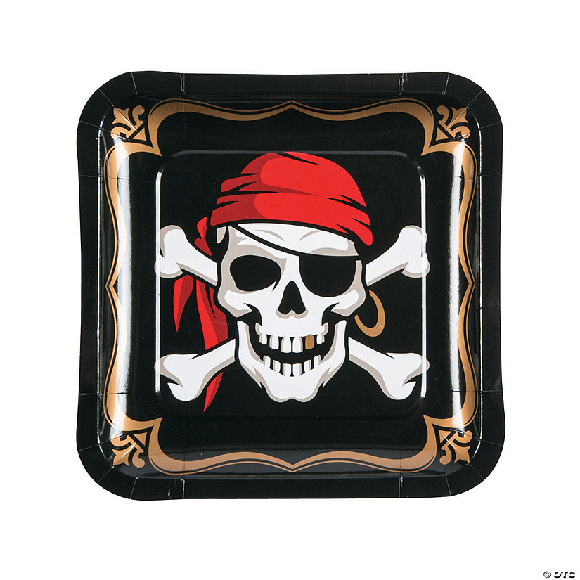 Pirate Square Paper Dinner Plates - 8 Ct. Audio Thumbnail