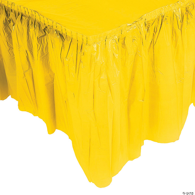 ad082002e Pleated Yellow Table Skirt | Oriental Trading