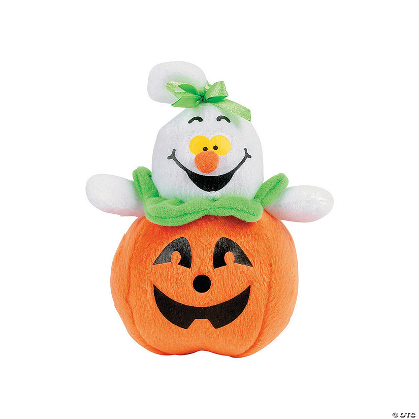 Plush Ghosts in Jack-O'-Lanterns Image Thumbnail