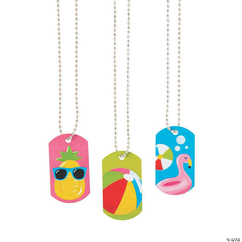 Pool Party Dog Tag Necklaces Image Thumbnail