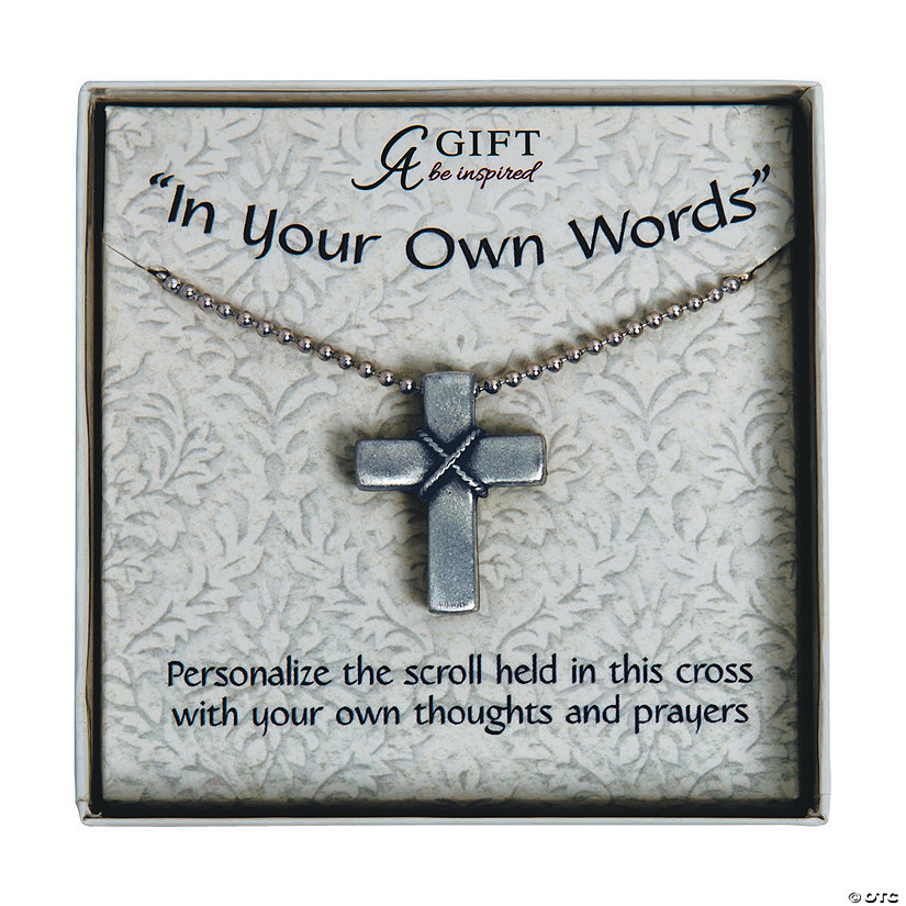 Prayer Cross Necklace with Scroll