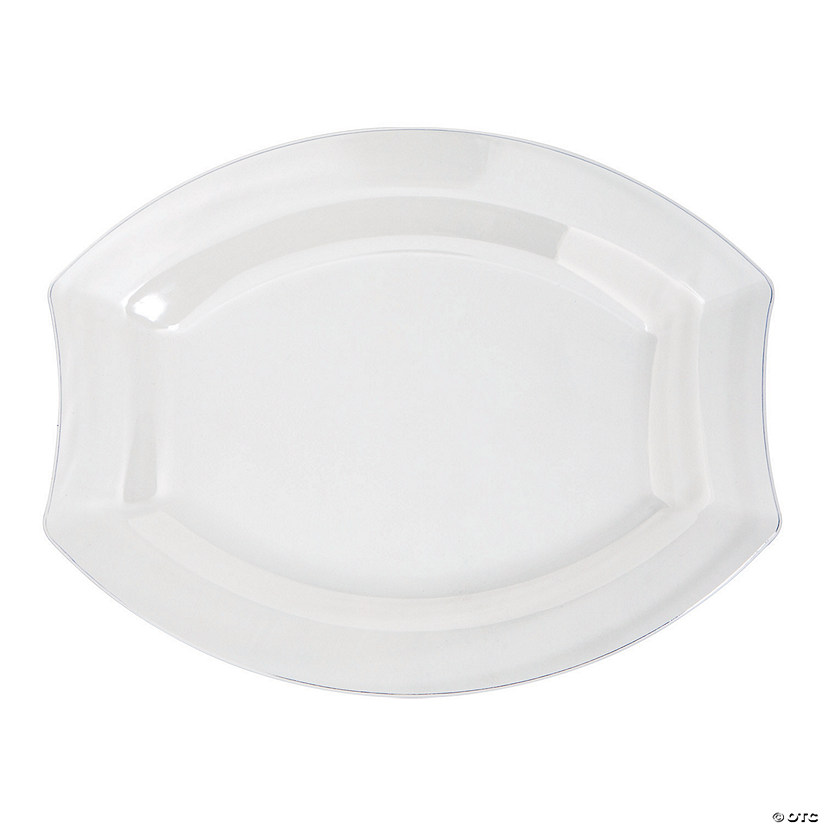 Premium Clear Royalty Oval Plastic Dinner Plates - 20 Ct. Image Thumbnail