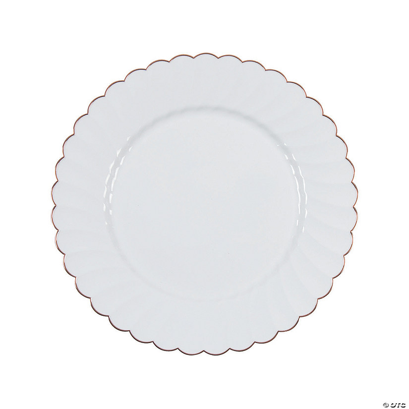 Premium Elegance Plastic Dinner Plates with Rose Gold Edge