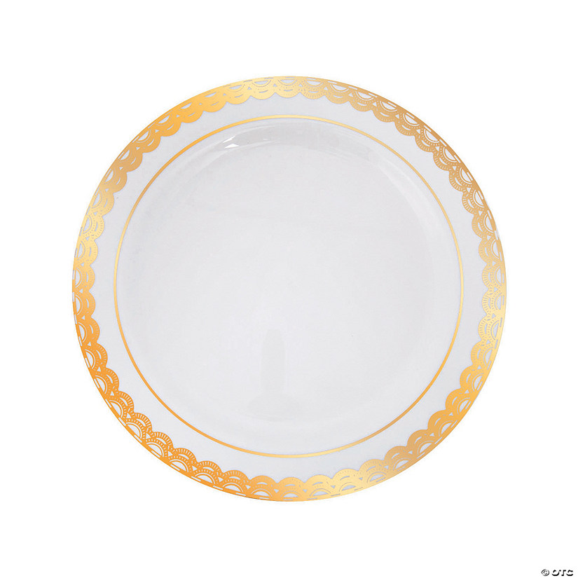 Premium Plastic Ornate Gold Trim Dinner Plates