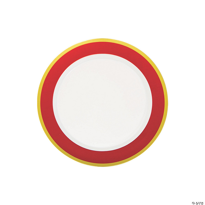 Premium Red & White Plastic Dessert Plates with Gold Border - 10 Ct. Audio Thumbnail