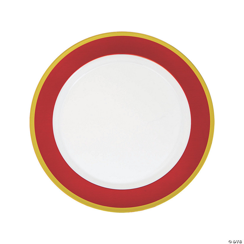Premium Red & White Plastic Dinner Plates with Gold Border - 10 Ct. Audio Thumbnail