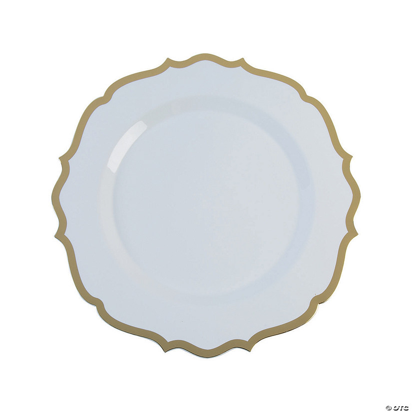 Premium White with Gold Ornate Plastic Dinner Plates
