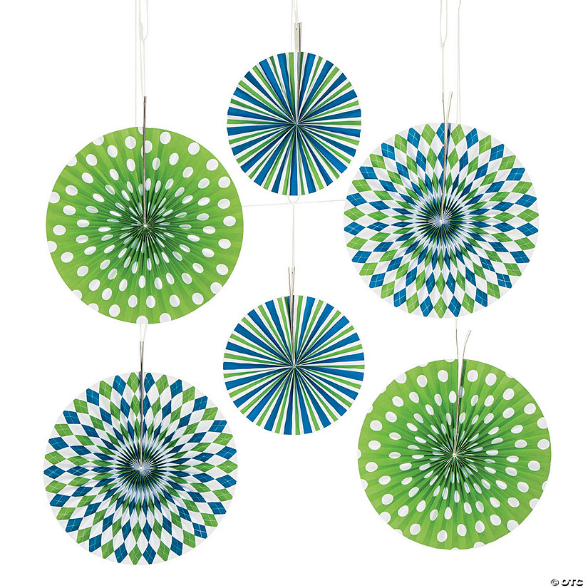 Preppy Print Blue & Green Hanging Fans - Less Than Perfect Image Thumbnail