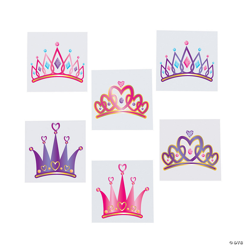 princess tiara tattoo assortment rh orientaltrading com princess crown tattoos for girls princess crown tattoo on finger