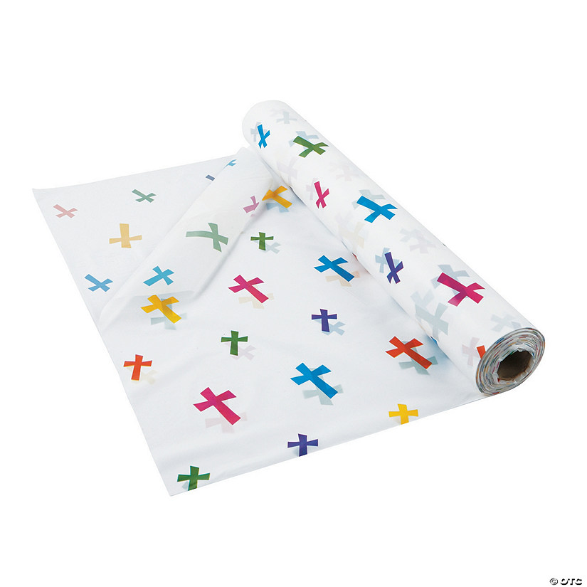 Printed Cross Plastic Tablecloth Roll