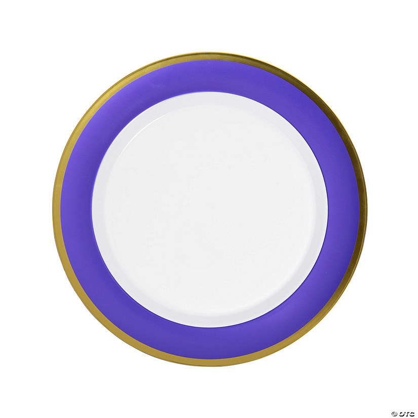 Purple & White Premium Plastic Dinner Plates with Gold Border Audio Thumbnail