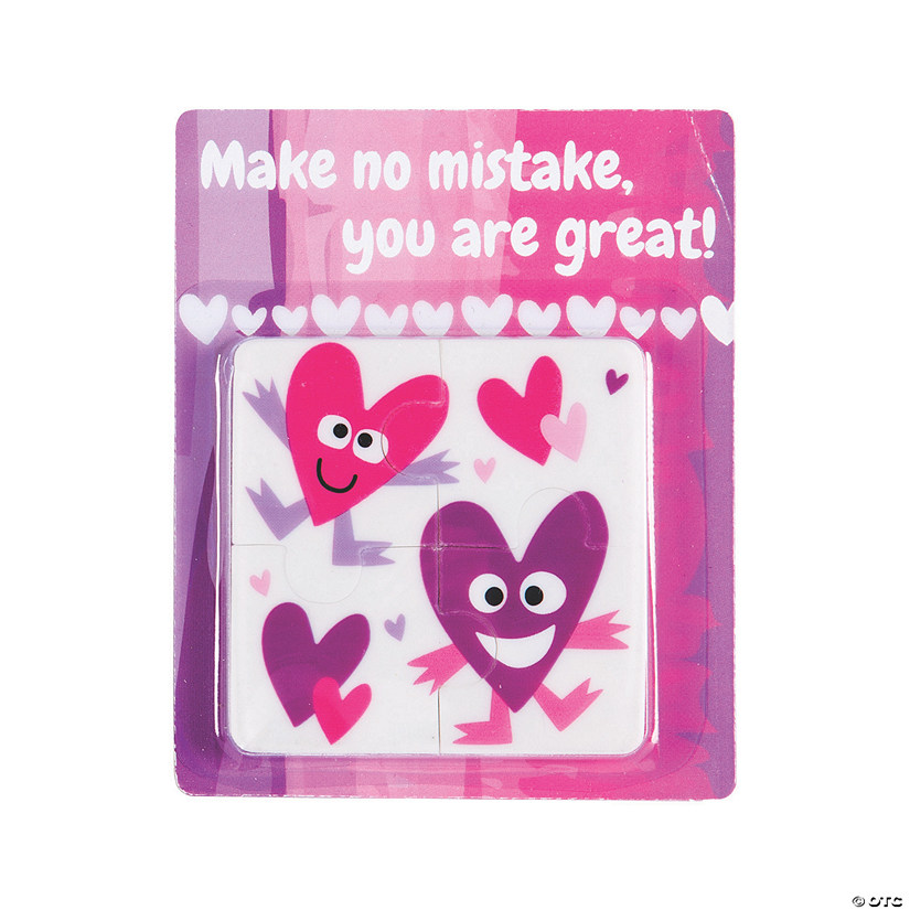Puzzle Erasers with Valentine's Day Cards Image Thumbnail