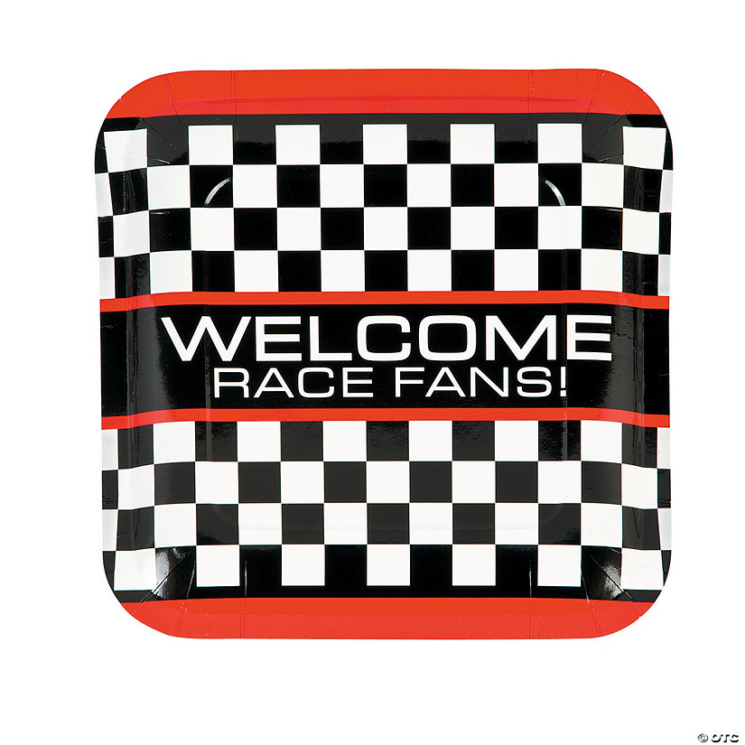 Race Car Checkered Flag Paper Dinner Plates - 8 Ct. Audio Thumbnail
