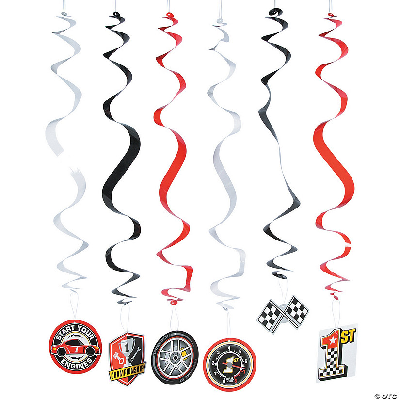 Race Car Party Hanging Swirl Decorations - 12 Pc. Audio Thumbnail