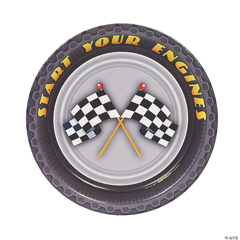 Racecar Racing Party Paper Dessert Plates - 8 Ct. Audio Thumbnail