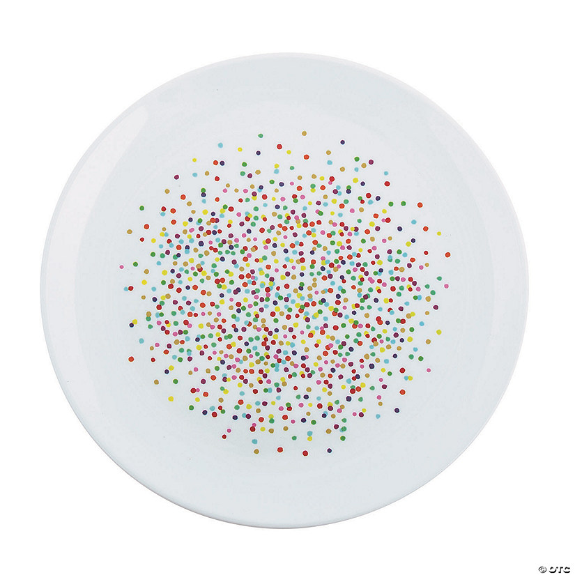 Rainbow Confetti Round Serving Tray