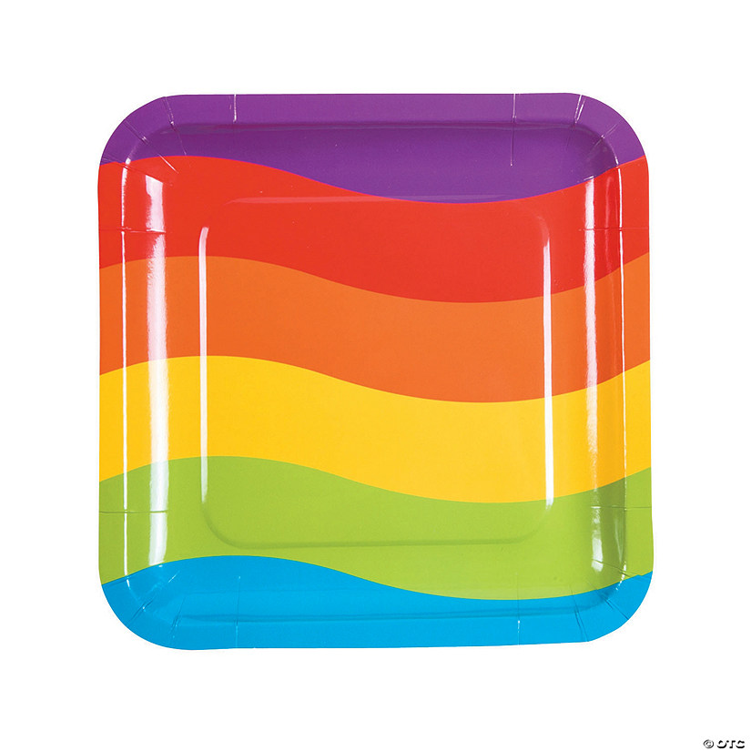 Rainbow Party Square Paper Dinner Plates