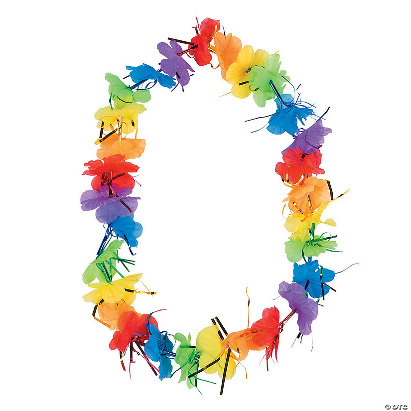 Rainbow Polyester Tinsel Leis  - 12 Pc. Audio Thumbnail