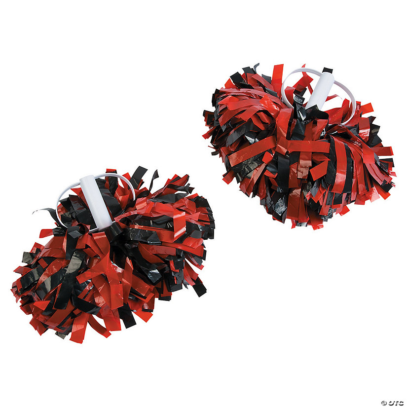 Red & Black Spirit Cheer Pom-Poms - 2 Pc. Image Thumbnail