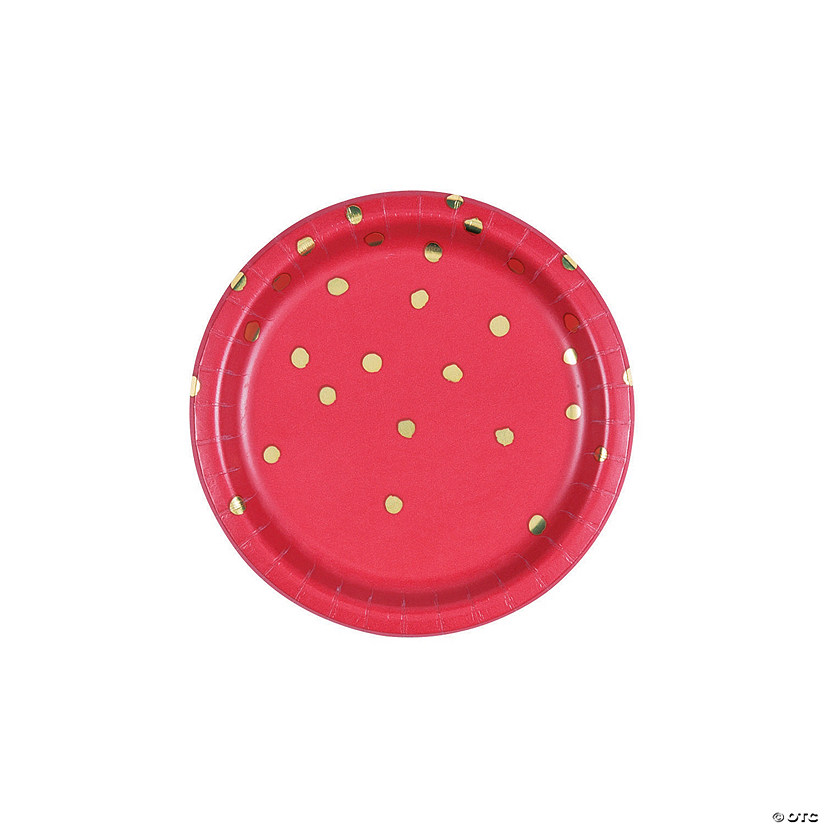 Red & Gold Foil Dot Dessert Paper Plates