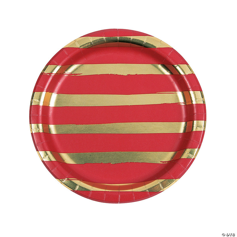 Red & Gold Foil Striped Dinner Paper Plates Audio Thumbnail