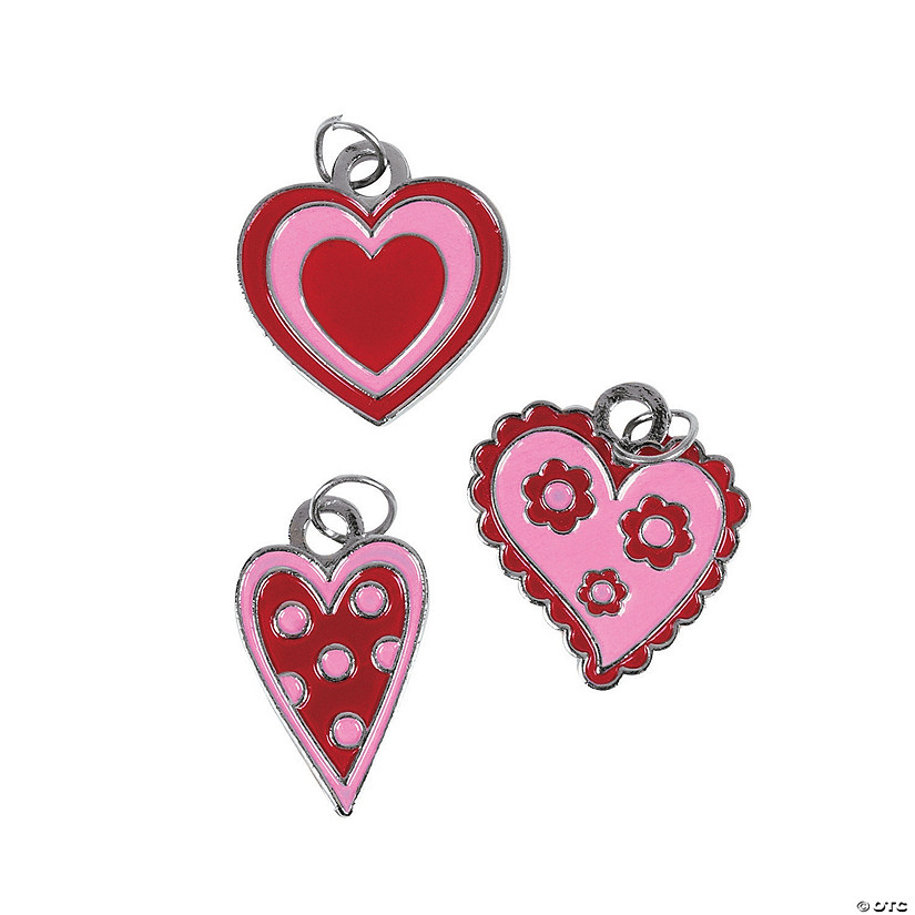 Red & Pink Enamel Heart Charms Image Thumbnail