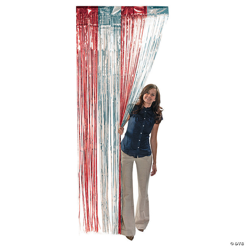 Red & Silver Foil Fringe Door Curtain