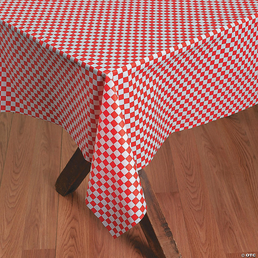Red & White Checkered Banquet Plastic Tablecloth Roll