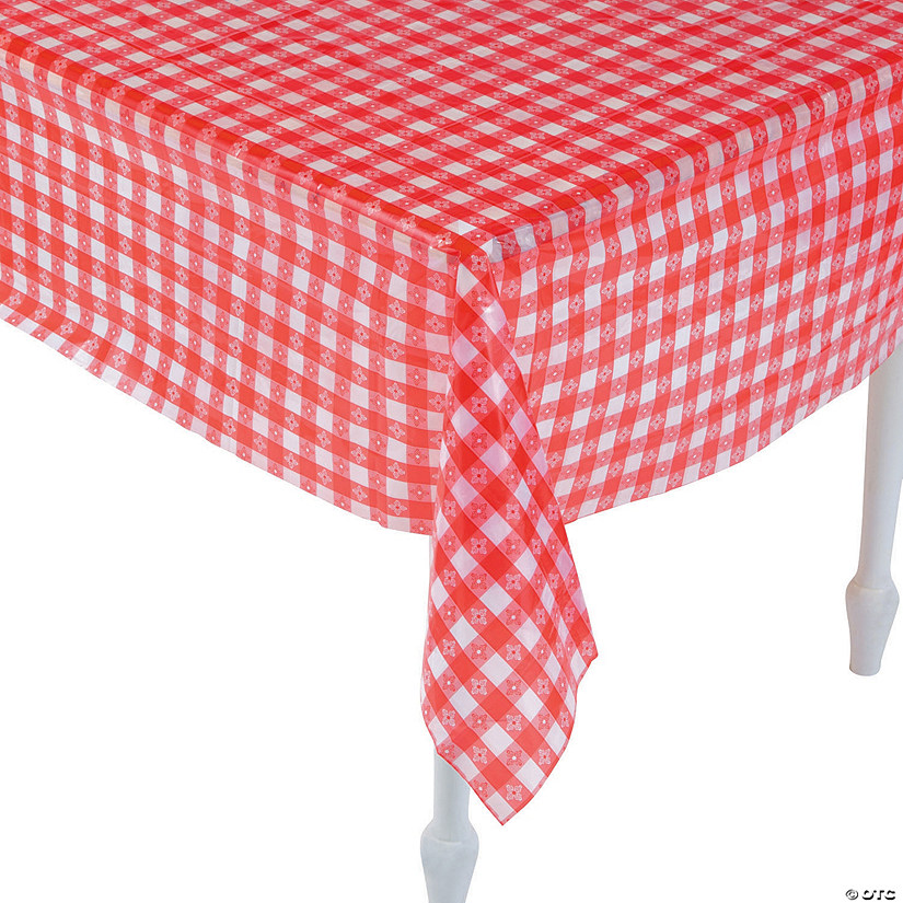 Red & White Checkered Plastic Tablecloth