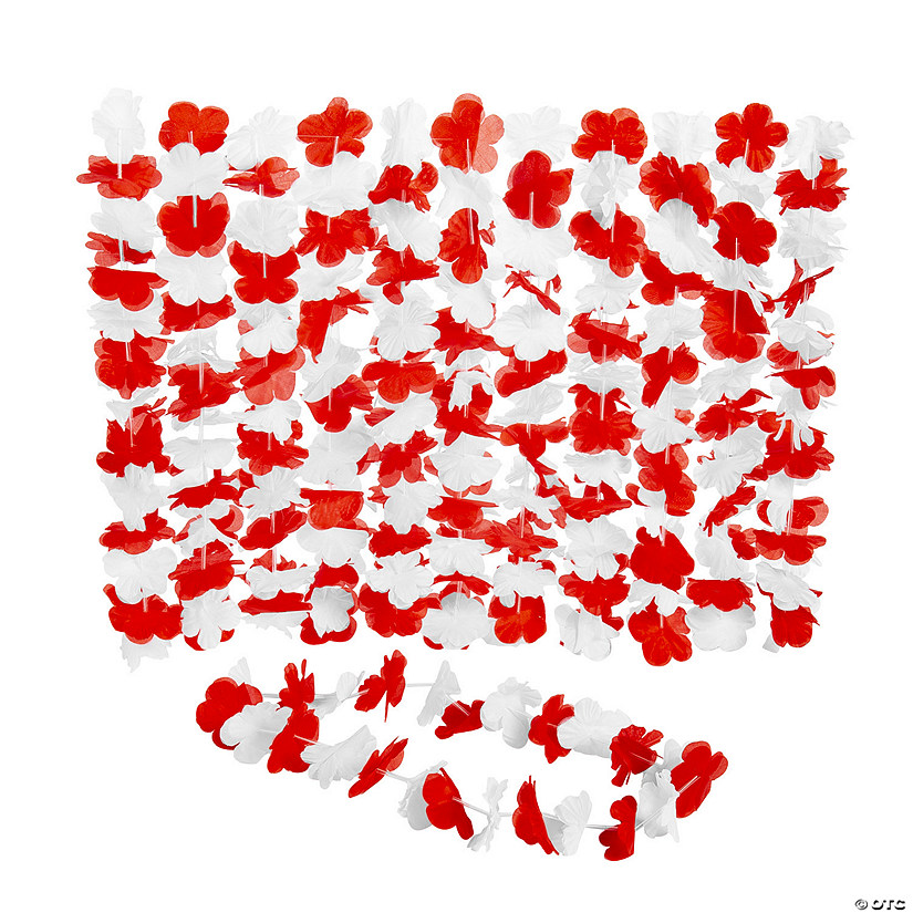 Red & White Hawaiian Flower Polyester Leis - 12 Pc. Audio Thumbnail